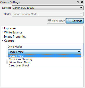 Canon EOS: Capture settings