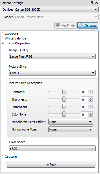 Image settings on Canon EOS