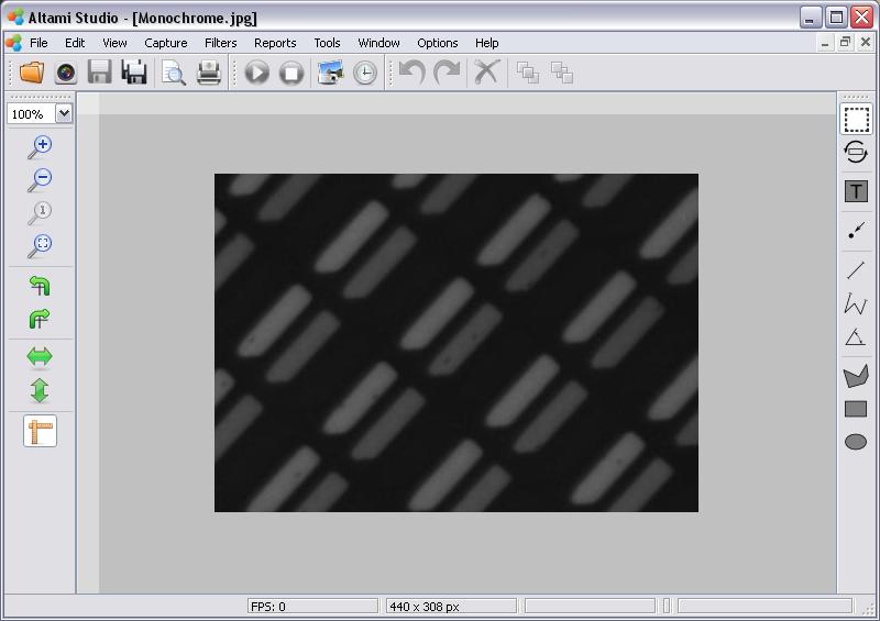 Opened document in Altami Studio application.