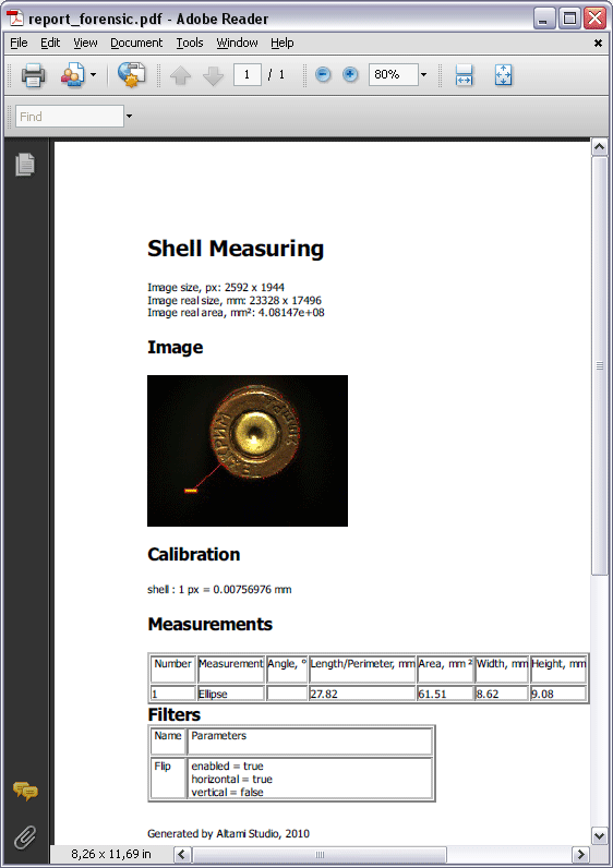 Report on shell measuring