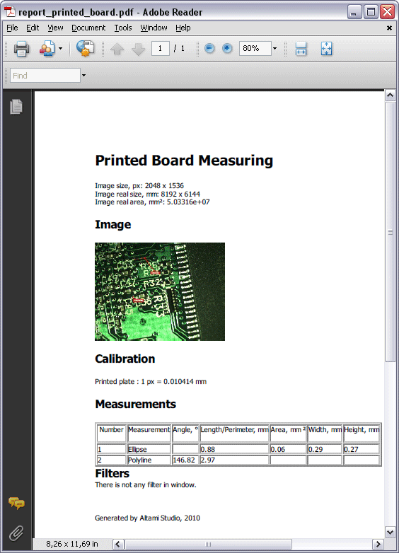 Report on printed plate measuring