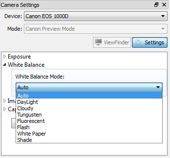Canon EOS: white balance mode