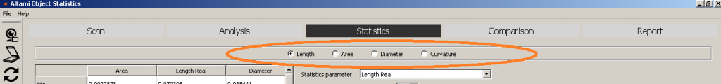 Setting the focus in the statistics tab