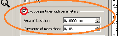 Filter by area and particles curvature