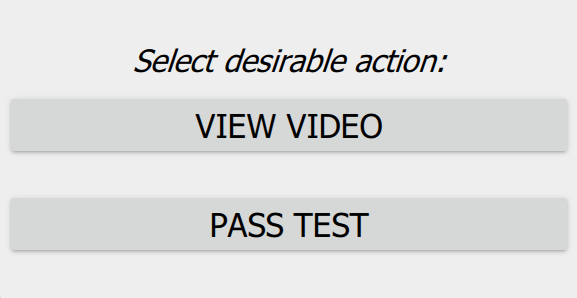 Select Action page